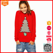 Latest design jumpers woman knitted 100% cotton christmas sweater