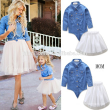 2017 2 unidsset family matching dress ins venta caliente lovely Denim manga larga mami y yo vestido 2017