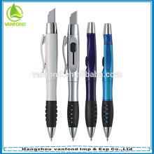 Multi function promotional transparent plastic pen knife on top