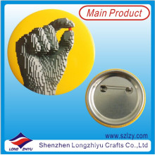 Promotional Printing Button Tin Badge with safety Pin