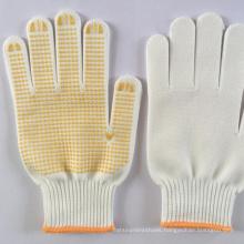 10gauge bleach white yellow cotton safety working security gloves