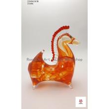 Red Standing Short Horse Glass Sculpture