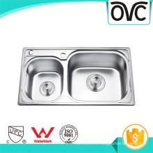 Reciclabilidad fácil de limpiar cocina de plata Fregadero de doble tazón Reciclaje fácil de limpiar cocina de plata Fregadero de doble tazón
