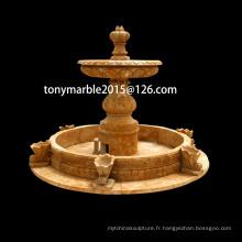 Fontaine de pierre jaune de sculpture de pierre (SY-F009)