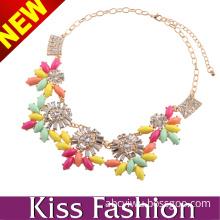 2014 Factory Diretly Wholesale Colorful Alloy Diamond Fashion Germanium Statement Necklace Jewelry (EN0023D)