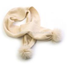 2016 последние дизайн чистый монгольского кашемира младенца пом пом шарф