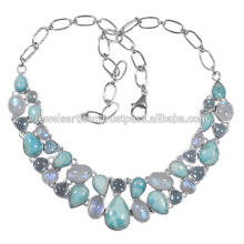 Larimar And Multi Gemstone 925 Solid Silver Necklace Jewelry