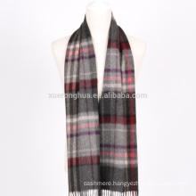 100% cashmere scarf man's plaid cashmere scarf