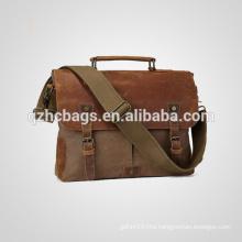 Canvas Leather Messenger Bag Shoulder Laptop School Bag