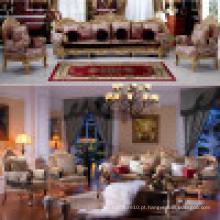 Conjunto de sofá de madeira com sofá cadeira para móveis para casa (d962)