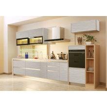 Cabinet de cuisine en acrylique ultra brillant style linéaire P-009