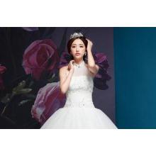 Graceful Diamond Halter Neck Wedding Dresses with Sweep Tra