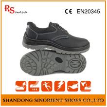 Chaussures de sécurité bon marché en acier noir à semelle rigide RS812