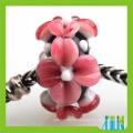 murano fabrication de bijoux paver fleur rouge lampwork verre gros trou perles