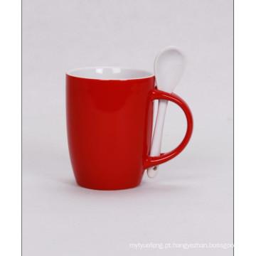 Caneca de café com colher, caneca da colher da promo