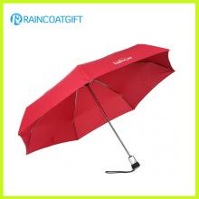 Ligero Auto Abrir y Cerrar Rojo 3 Paraguas Plegable