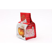 Flat Bottom Stand Up Red Coffee Packaging Bags With Tear Notch