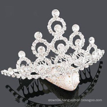 fashion metal silver plated crystal tiara barrette accessories for hair