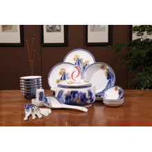 High Quality Luxury White and Blue Tableware