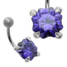 Large Jewel Silver & Steel Belly Bar Snow Violet