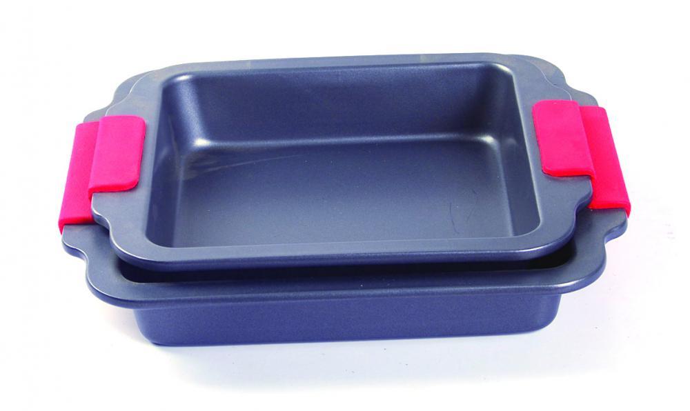 Silicone grip square cake pan