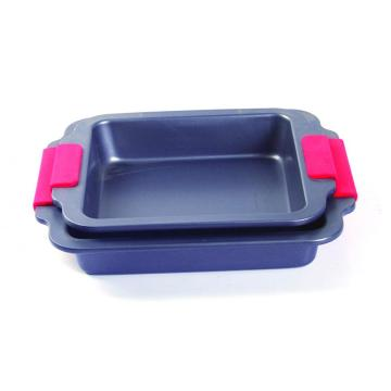Silicone grip square cake pan