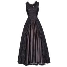 Белль некоторые из них имеют Ретро Винтаж готический Викторианский Стиль рукавов U-образным вырезом кружева и атласное платье BP000378-1