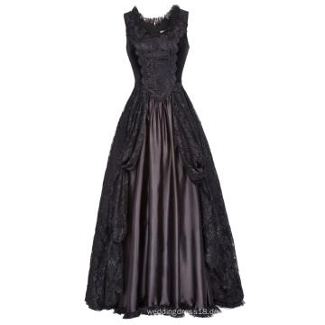 Belle Poque Retro Vintage Gothic Viktorianischen Stil Ärmellos U-Ausschnitt Spitze & Satin Kleid BP000378-1