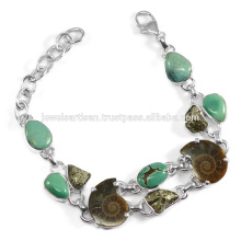 Latest Design Turquoise Ammonite Pyarite Multi Gemstone 925 Silver Handmade Link Chain Men's Bracelet