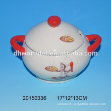 Monkey kitchenware series ceramic storage tank with handle