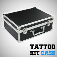 Preto cor kit de tatuagem portátil transportando caso de alumínio leve w / bloqueio e chave