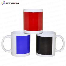 Taza blanca de la sublimación con el color del remiendo que cambia / el color local que cambia la taza / la taza mágica / el agua caliente que cambia la venta al por mayor de la taza