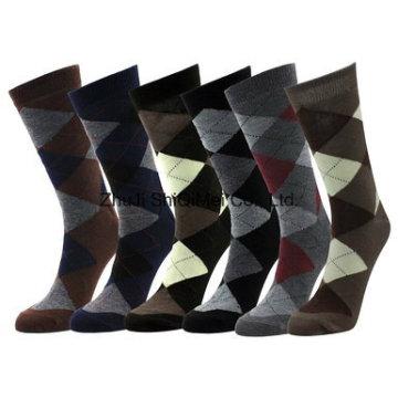 Algodão diamante vestido meias para homens