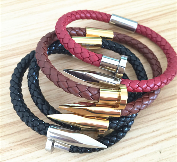 Leather Magnetic Clasp Nail Bracelet