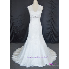 Sheer Neckline Bridal Gowns Buttons Lace Wedding Dress