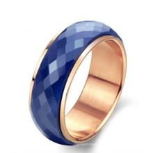 Jóias coreanas rosa banhado a ouro anel rotativo de cerâmica azul