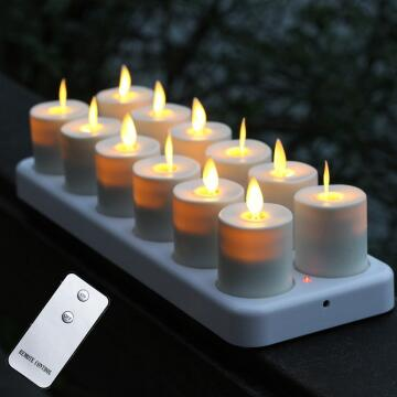 12 pieces set reachargeable moving wick candle