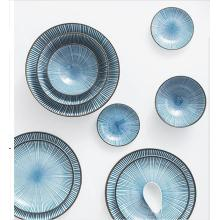 Tazón de postre de cerámica de estilo japonés, tazón de arroz de cerámica pintado a mano, tazón de fuente de sopa esmaltada