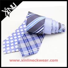 Мужская реверсивный шелковые галстуки в двух различных конструкциях плед и горошек мужские галстуки