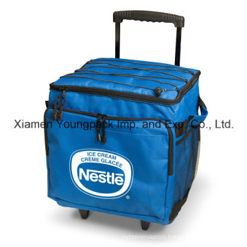 Promotional Custom Printed Collapsible 48-Can Insulated Wheel Cooler Bag