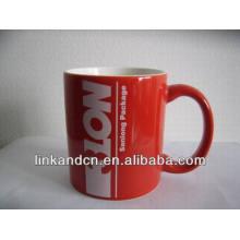 Haonai taza de cerámica de publicidad de 11 oz rojo con su logotipo