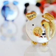 ornamento de cristal de Navidad de cerdo soplado miniatura en miniatura