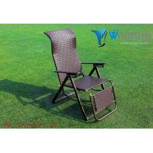 Cómoda silla plegable, silla de playa de mimbre, silla de respaldo alto de ratán al aire libre