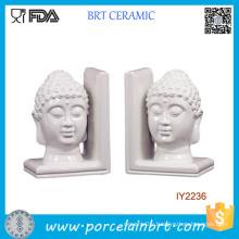 Decorative White Ceramic Buddha Head Bookend
