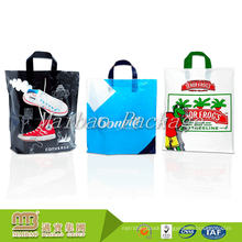 Guangzhou Durable Reusable Custom Made Soft Loop Handle Heavy Duty Plastic Shopping Bag For Shoes Packing