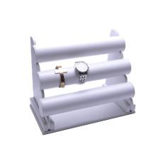 Organizador de relógio de pulso MDF de poliéster branco de 3 níveis branco (WS-3W-L3)