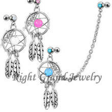 Grossiste Turquoise Couleur Dream Catcher Dangle Cartilage Boucles d'oreilles