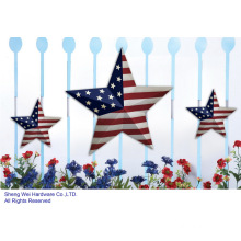 Metal Set of 3 Patriotic Stars Wall Decor & Fence Decor