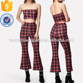 Plaid Strapless Top & Flare Hem Pants Set Manufacture Wholesale Fashion Women Apparel (TA4038SS)