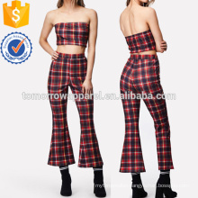 Plaid Strapless Top & Flare Hem Pants Set Manufacture Wholesale Fashion Women Apparel (TA4038SS)